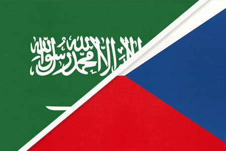Saudi Arabia and Czech Republic or Czechia, symbol of two national flags from textile. Relationship, partnership and championship between Asian and European countries.
