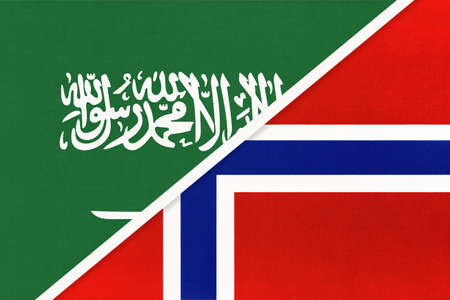 Saudi Arabia and Norway, symbol of two national flags from textile. Relationship, partnership and championship between Asian and European countries.