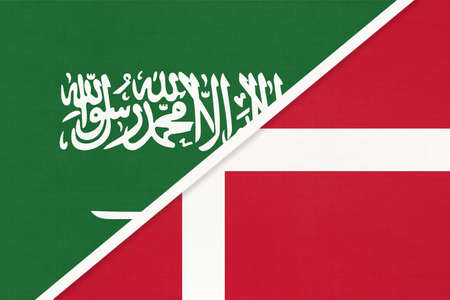 Saudi Arabia and Denmark, symbol of two national flags from textile. Relationship, partnership and championship between Asian and European countries.