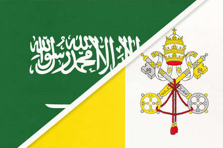 Saudi Arabia and Vatican City, symbol of two national flags from textile. Relationship, partnership and championship between Asian and European countries.