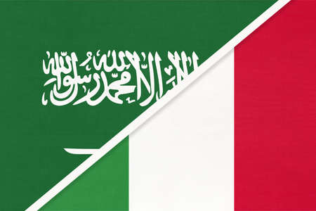 Saudi Arabia and Italy or Italian Republic, symbol of two national flags from textile. Relationship, partnership and championship between Asian and European countries.