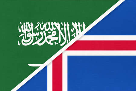 Saudi Arabia and Iceland, symbol of two national flags from textile. Relationship, partnership and championship between Asian and European countries.
