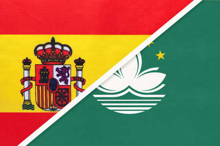 Spain and Macau or Macao, symbol of two national flags from textile. Relationship, partnership and championship between European and Asian countries.
