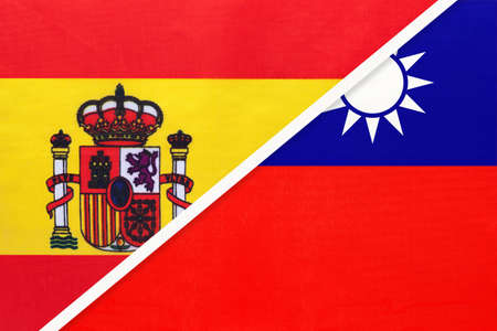 Spain and Taiwan or Republic of China, symbol of two national flags from textile. Relationship, partnership and championship between European and Asian countries.