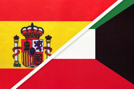 Spain and Kuwait, symbol of two national flags from textile. Relationship, partnership and championship between European and Asian countries.