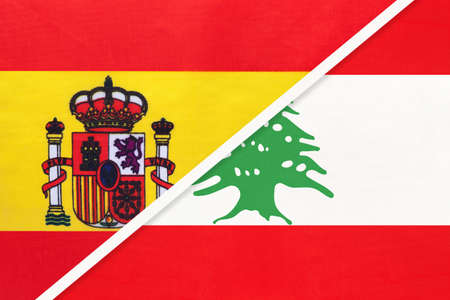 Spain and Lebanon or Lebanese Republic, symbol of two national flags from textile. Relationship, partnership and championship between European and Asian countries.
