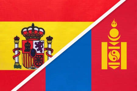 Spain and Mongolia, symbol of two national flags from textile. Relationship, partnership and championship between European and Asian countries.