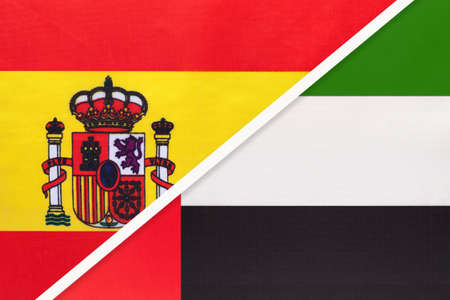 Spain and United Arab Emirates or UAE, symbol of two national flags from textile. Relationship, partnership and championship between European and Asian countries. Archivio Fotografico