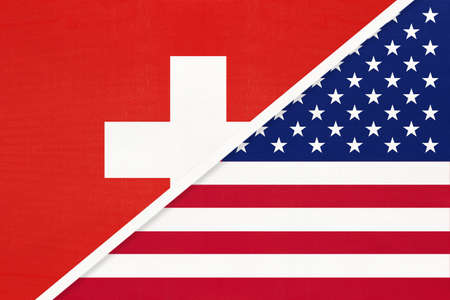 Switzerland or Swiss Confederation and United States of America or USA, symbol of national flags from textile. Relationship, partnership and championship between European and American countries.