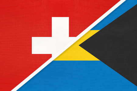 Switzerland or Swiss Confederation and The Bahamas, symbol of national flags from textile. Relationship, partnership and championship between European and American countries.
