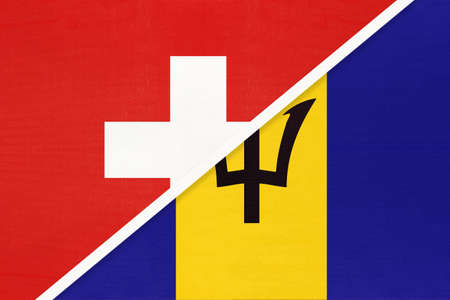 Switzerland or Swiss Confederation and Barbados, symbol of national flags from textile. Relationship, partnership and championship between European and American countries.