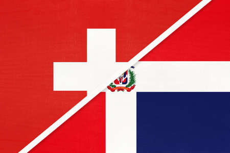 Switzerland or Swiss Confederation and Dominican Republic, symbol of national flags from textile. Relationship, partnership and championship between European and American countries.
