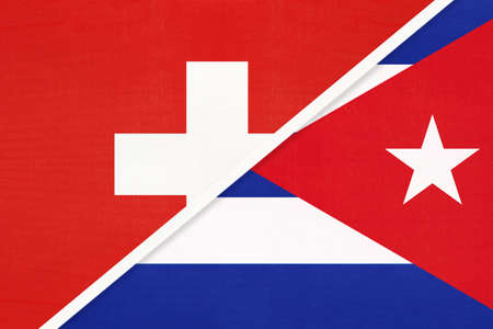 Switzerland or Swiss Confederation and Cuba, symbol of national flags from textile. Relationship, partnership and championship between European and American countries.
