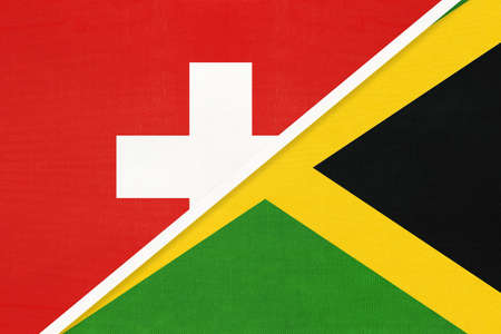 Switzerland or Swiss Confederation and Jamaica, symbol of national flags from textile. Relationship, partnership and championship between European and American countries.