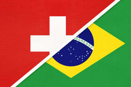Switzerland or Swiss Confederation and Brazil, symbol of national flags from textile. Relationship, partnership and championship between European and American countries.
