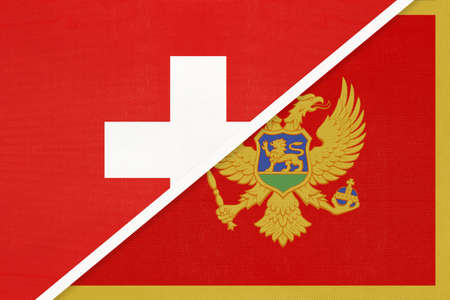 Switzerland or Swiss Confederation and Montenegro, symbol of national flags from textile. Relationship, partnership and championship between two European countries.