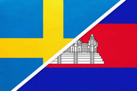Kingdom of Sweden and Cambodia or Kampuchea, symbol of national flags from textile. Relationship, partnership and championship between European and Asian countries.