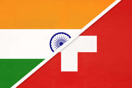 India and Switzerland or Swiss Confederation, symbol national flags from textile. Relationship, partnership and championship between two countries.