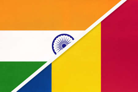 India and Romania, symbol national flags from textile. Relationship, partnership and championship between two countries.