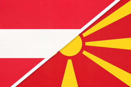 Austria and North Macedonia, national flags from textile. Relationship, partnership and match between two countries.