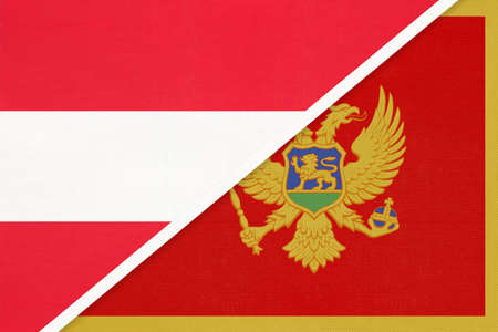 Austria and Montenegro, national flags from textile. Relationship, partnership and match between two countries. Standard-Bild