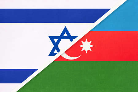 Israel and Azerbaijan, national flags from textile. Relationship, partnership and match between two countries.