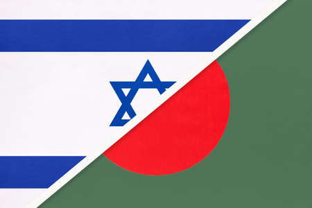 Israel and Bangladesh, national flags from textile. Relationship, partnership and match between two countries.