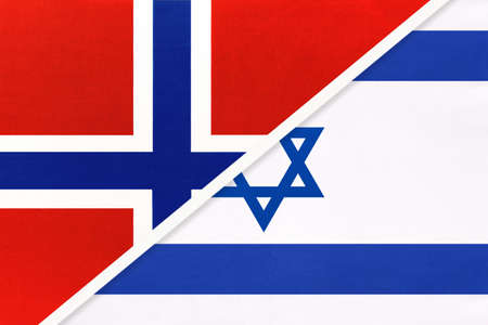 Norway and Israel, national flags from textile. Relationship, partnership and match between two countries. Standard-Bild