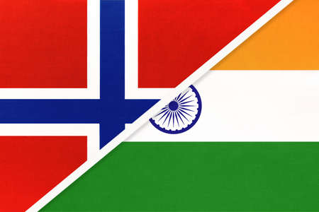 Norway and India, national flags from textile. Relationship, partnership and match between two countries. Standard-Bild