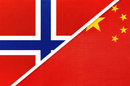 Norway and China or PRC, national flags from textile. Relationship, partnership and match between two countries.