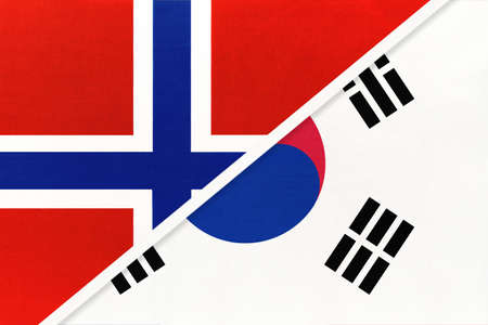 Norway and South Korea or ROK, national flags from textile. Relationship, partnership and match between two countries.