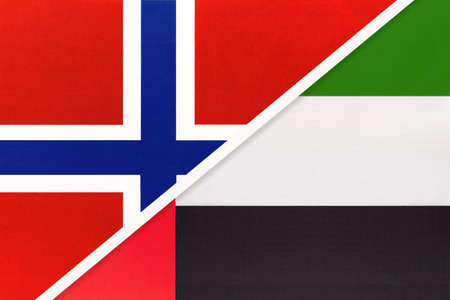 Norway and United Arab Emirates or UAE, national flags from textile. Relationship, partnership and match between two countries. Standard-Bild