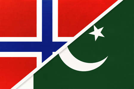 Norway and Pakistan, national flags from textile. Relationship, partnership and match between two countries.