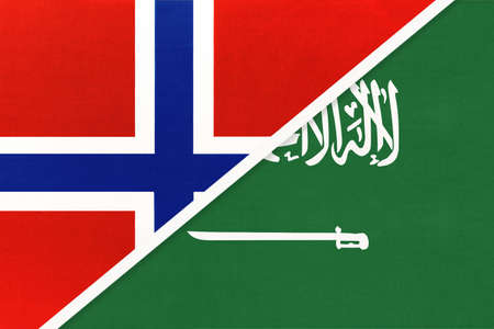 Norway and Saudi Arabia, national flags from textile. Relationship, partnership and match between two countries. Standard-Bild