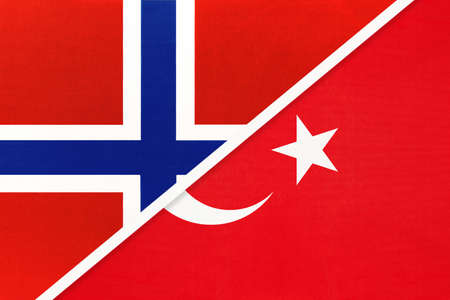 Norway and Turkey, national flags from textile. Relationship, partnership and match between two countries. Standard-Bild