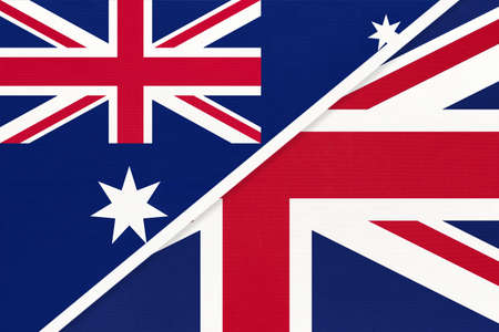 Australia and United Kingdom of Great Britain or UK, national flags from textile. Relationship, partnership and match between two countries. Standard-Bild