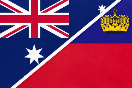 Australia and Liechtenstein, national flags from textile. Relationship, partnership and match between two countries.