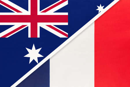 Australia and France or French Republic, national flags from textile. Relationship, partnership and match between two countries. Standard-Bild