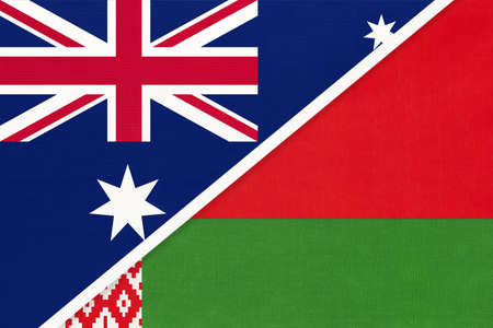 Australia and Belarus, national flags from textile. Relationship, partnership and match between two countries.