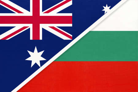 Australia and Bulgaria, national flags from textile. Relationship, partnership and match between two countries.