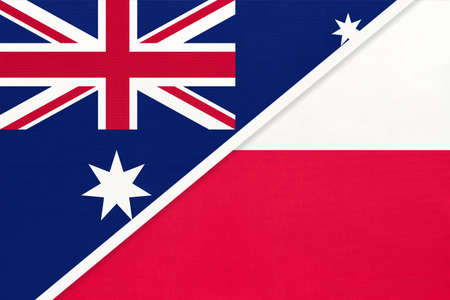 Australia and Poland, national flags from textile. Relationship, partnership and match between two countries.