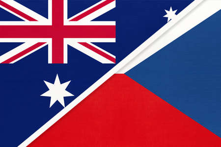 Australia and Czech Republic or Czechia, national flags from textile. Relationship, partnership and match between two countries.