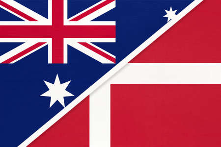 Australia and Denmark, national flags from textile. Relationship, partnership and match between two countries. Standard-Bild