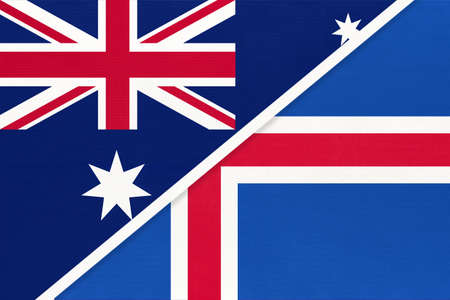Australia and Iceland, national flags from textile. Relationship, partnership and match between two countries. Standard-Bild