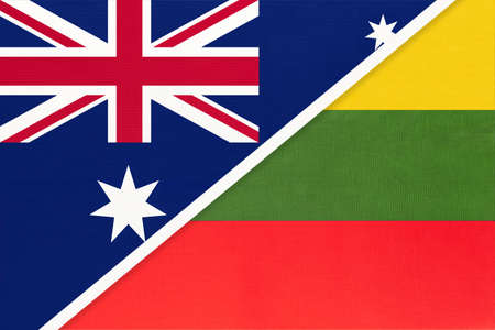Australia and Lithuania, national flags from textile. Relationship, partnership and match between two countries.