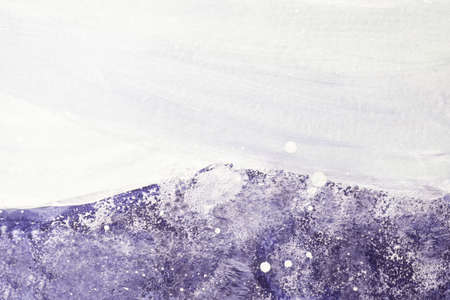 Abstract art background light purple and white colors. Watercolor painting on canvas with soft violet gradient. Fragment of artwork on paper with lavender pattern and copy space. Texture backdrop.