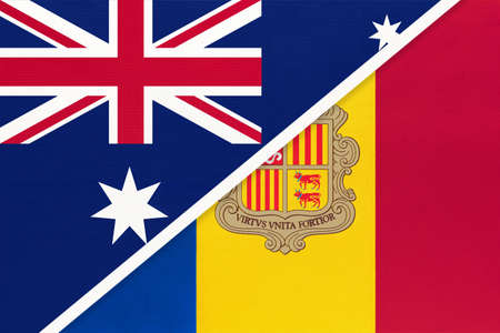 Australia and Andorra, national flags from textile. Relationship, partnership and match between two countries. Standard-Bild