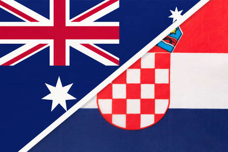 Australia and Croatia, national flags from textile. Relationship, partnership and match between two countries.