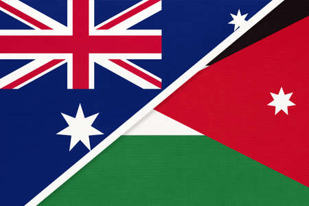 Australia and Jordan, national flags from textile. Relationship, partnership and match between two countries.