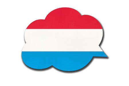 3d speech bubble with Luxembourg national flag isolated on white background. Speak and learn Luxembourgish language. Symbol of country. World communication sign.